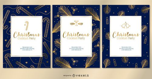 Conjunto de convites de Natal dourado