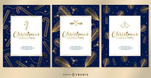 Set de invitaciones doradas de Navidad