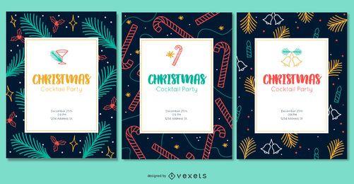 Conjunto de invitaciones coloridas de Navidad