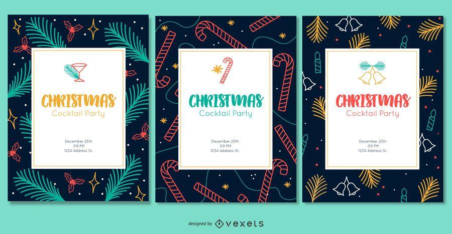 Christmas colorful invitations set