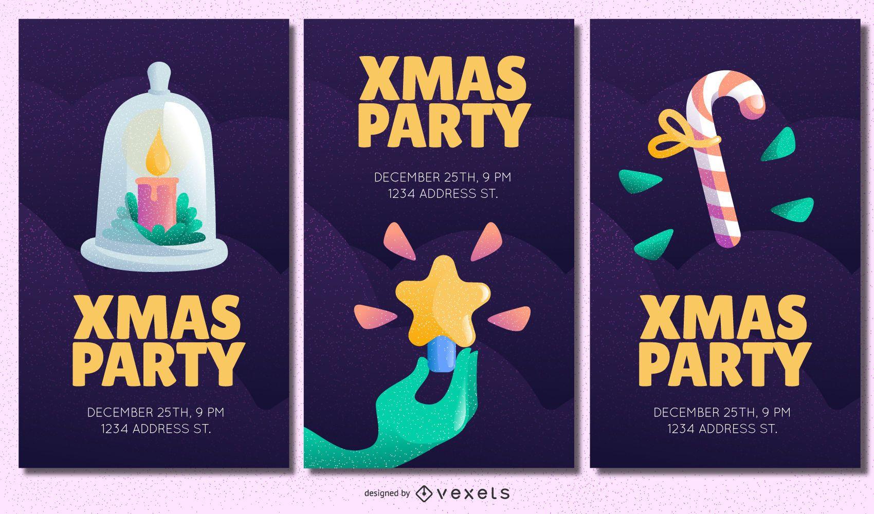 Conjunto de invitaciones de fiesta de navidad