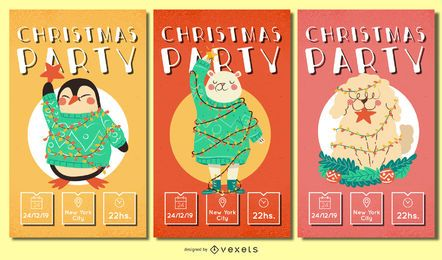 Christmas animals invitations set