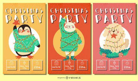 Christmas animals invitations set