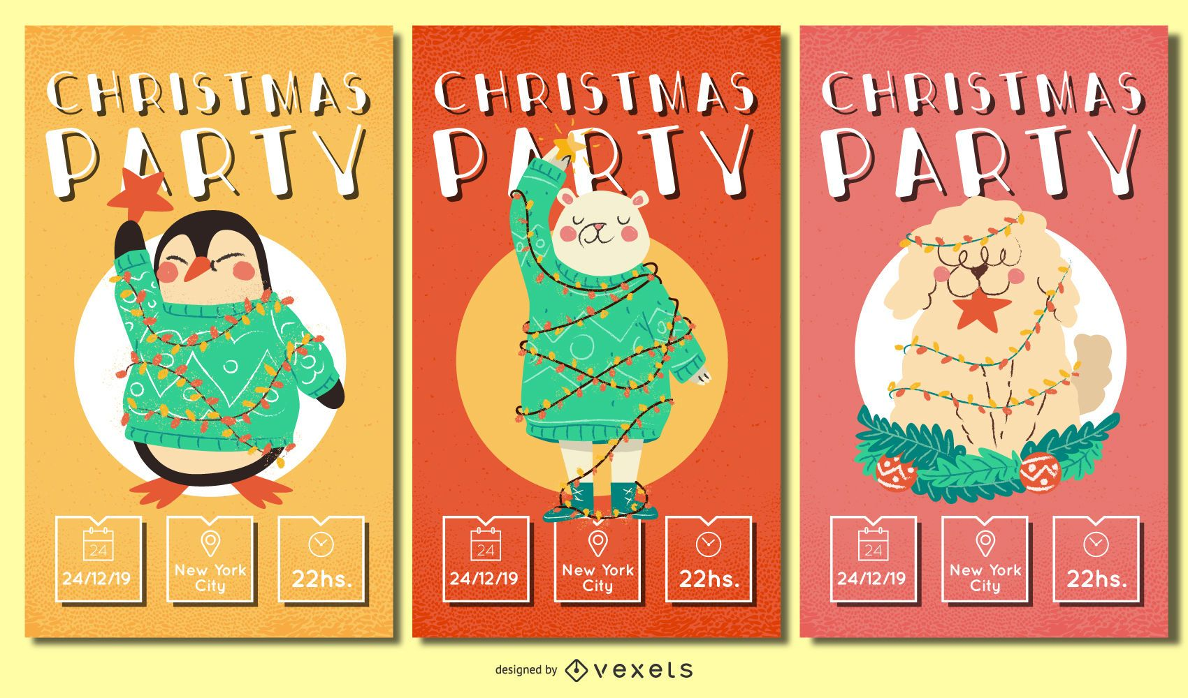Conjunto de invitaciones de animales navideños.