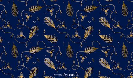 Desenho de padrão dourado de Natal