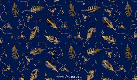 Diseño de patrón dorado navideño