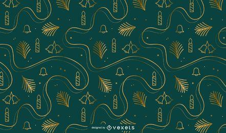 Diseño de patrón dorado de navidad