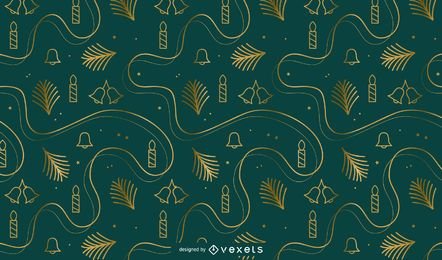 Golden christmas pattern design