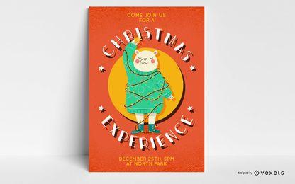 Diseño del cartel del oso de navidad