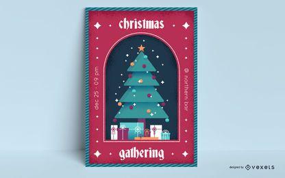 Diseño de cartel de árbol de evento navideño.