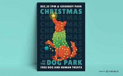 Design de cartaz de cachorro de Natal