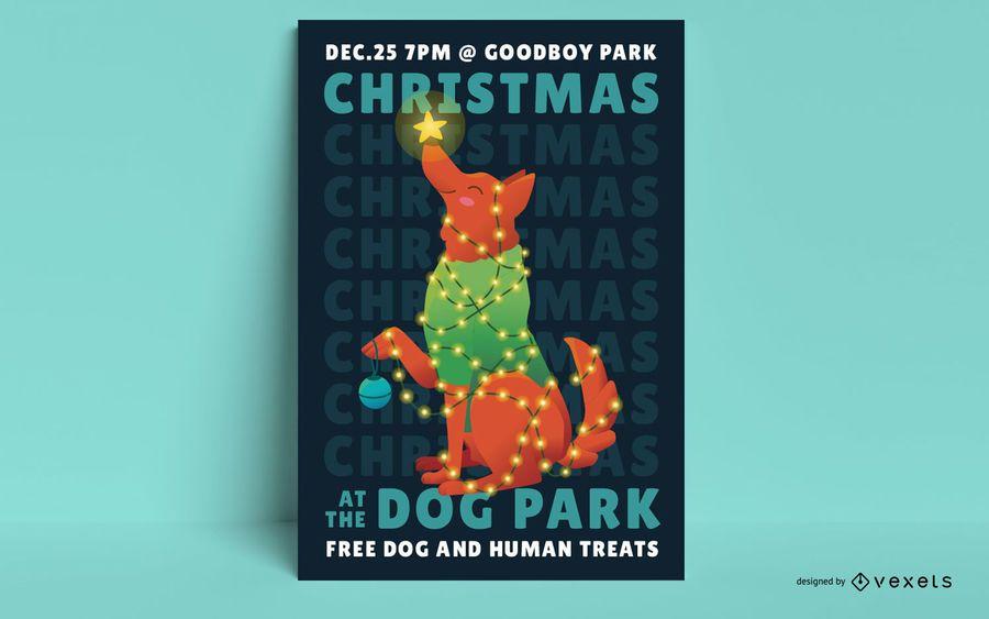 Christmas dog poster design