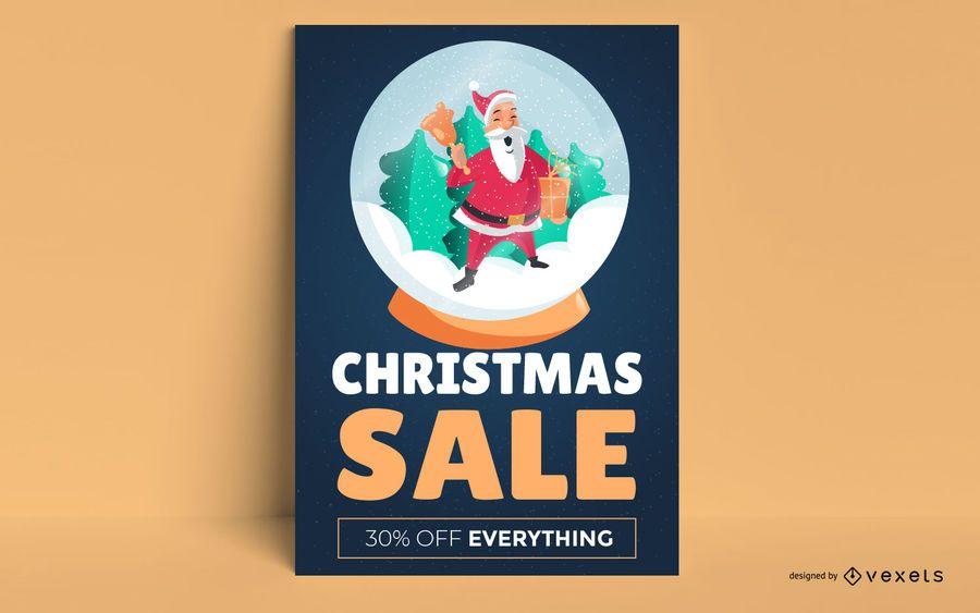 Cartaz de venda de natal de snowglobe de santa