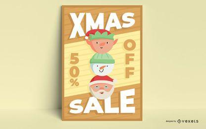 Diseño de carteles de venta de navidad