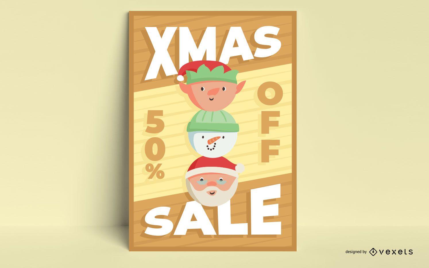 Diseño de cartel de venta de navidad.