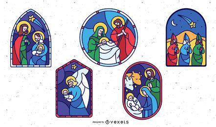 Conjunto de design de natividade de vitral