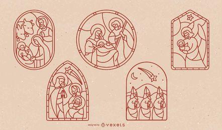 Conjunto de design de traço de natividade de vitral