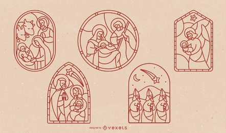Stained Glass Nativity Stroke Design Set