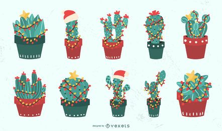 Weihnachtskaktus-Vektorsatz