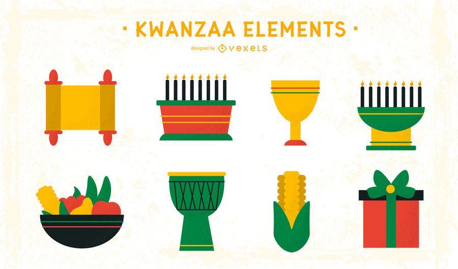 Paquete de elementos de diseño plano de Kwanzaa