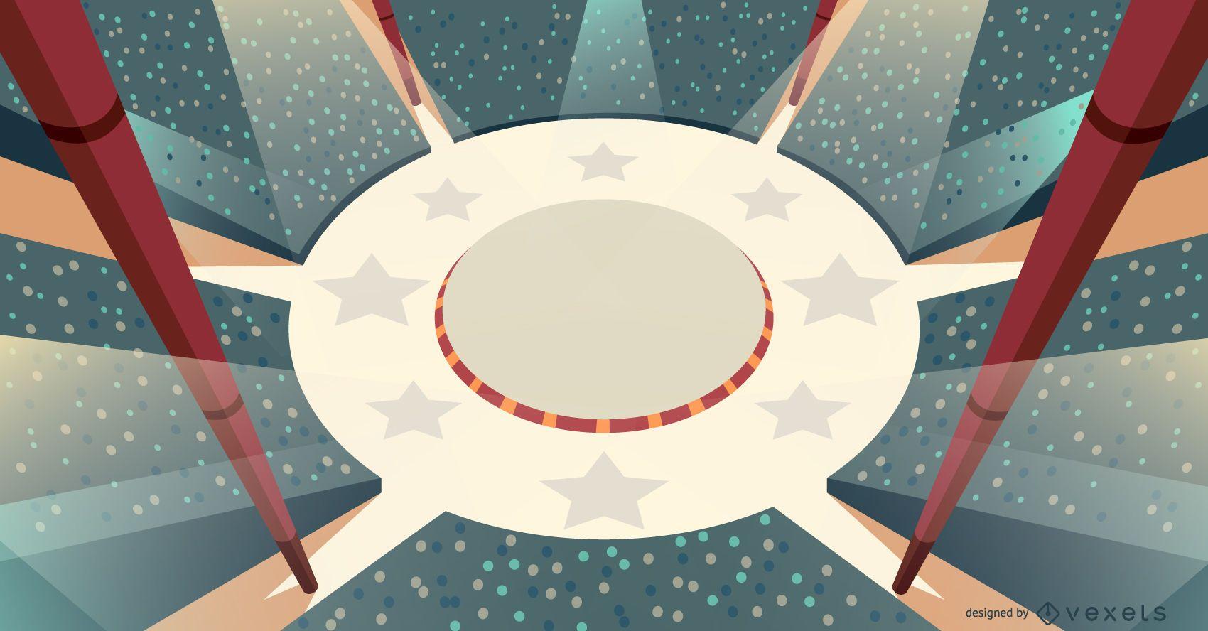 Diseño de ilustración de escenario de circo