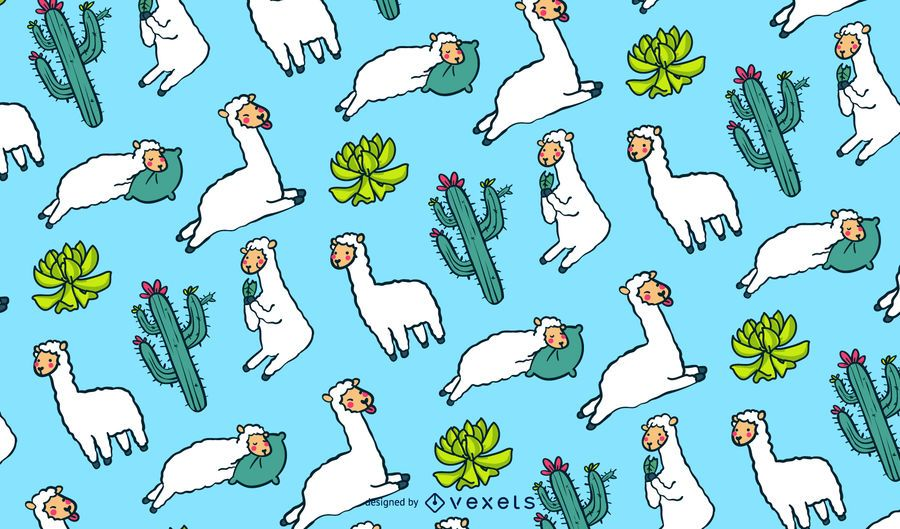 Cute llamas pattern design