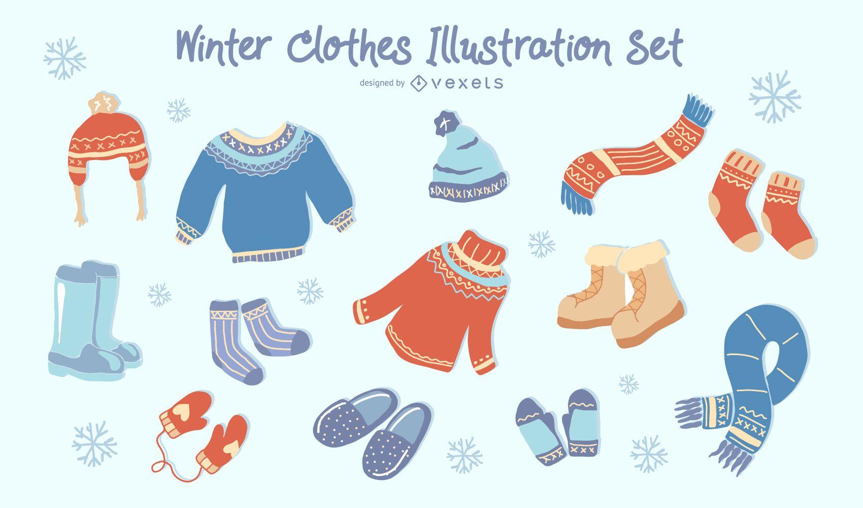 Winter clothes illustration set