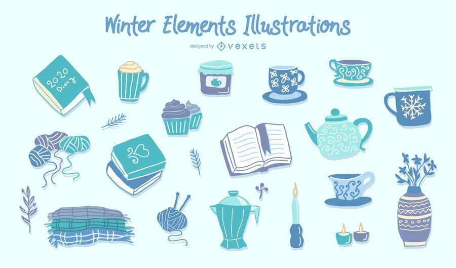 Coleção de elementos de inverno