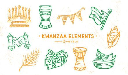 Kwanzaa Stroke Elements Pack