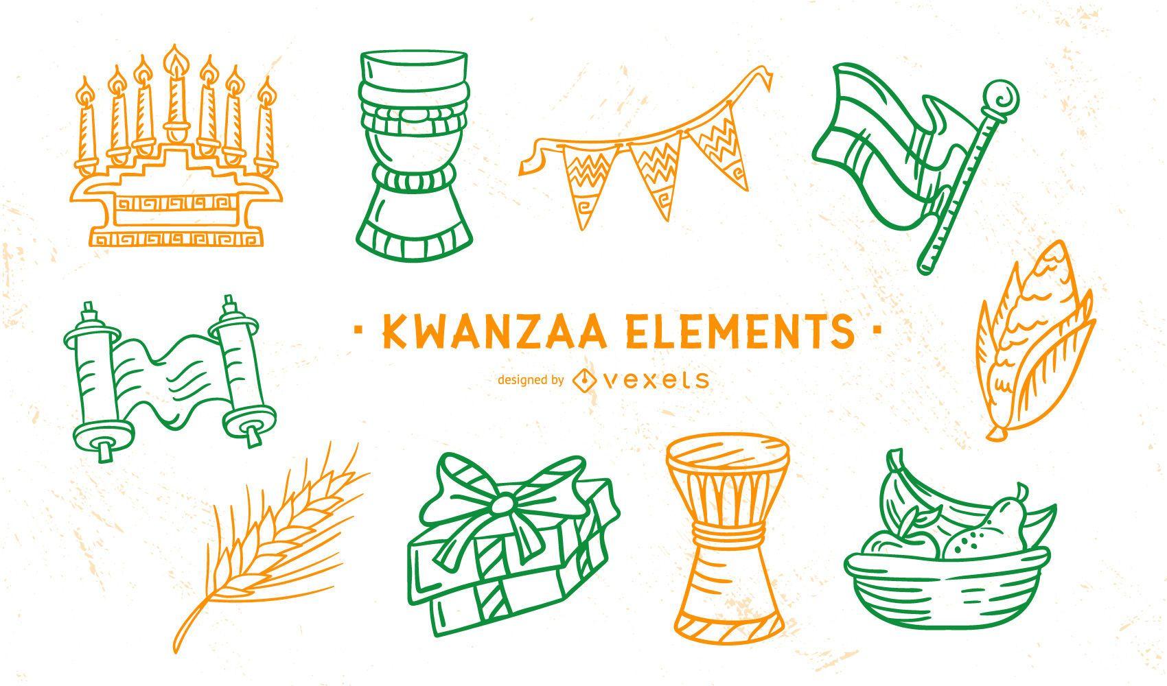 Paquete de elementos de trazo de Kwanzaa