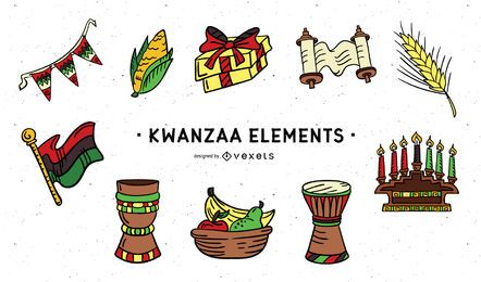 Pack de elementos de color Kwanzaa
