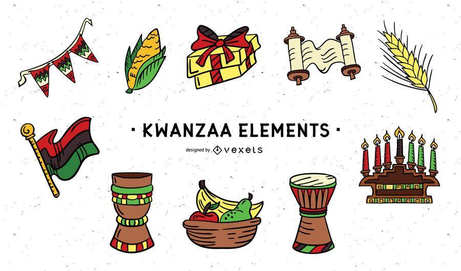 Pacote de elementos coloridos do Kwanzaa