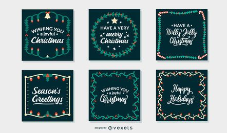 Christmas greeting cards frames set