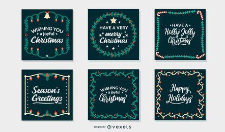 Conjunto de marcos de tarjetas de felicitación de Navidad