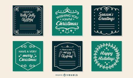 Conjunto de cartões de quadros de Natal