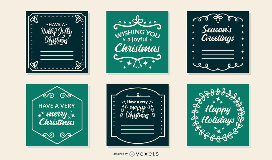 Christmas frames cards set