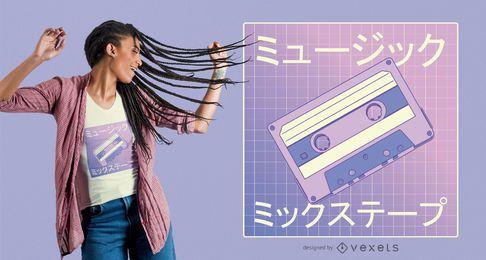 Design de camiseta Vaporwave mixtape