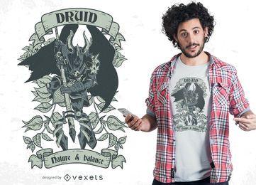 Diseño de camiseta de guerrero druida