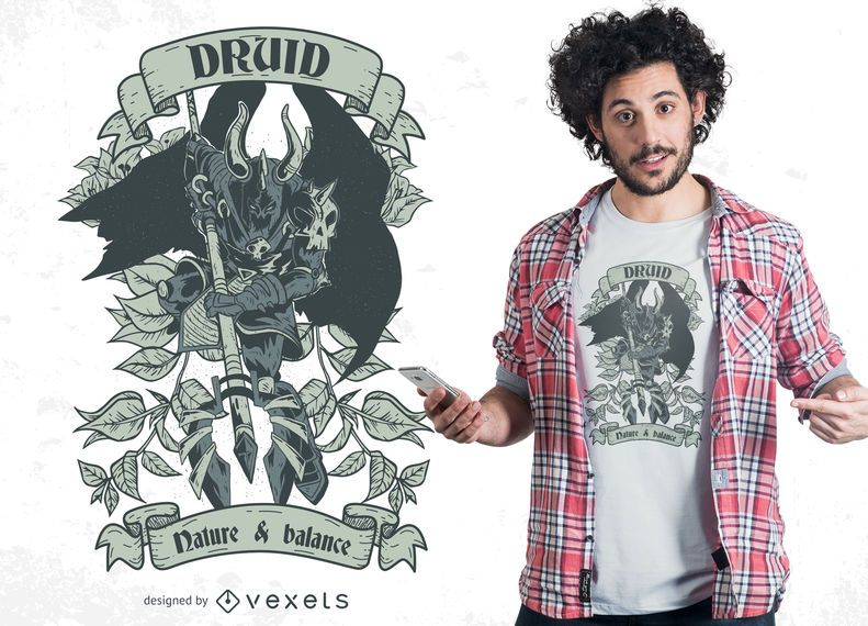 Design do t-shirt do guerreiro druida