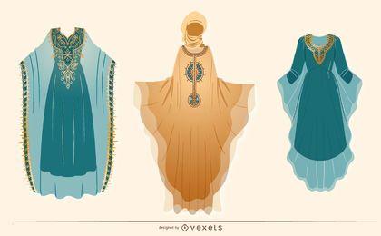 Pacote de design de vestido árabe feminino