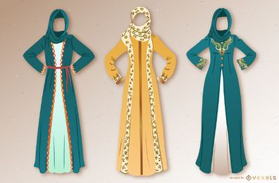 Arabic Dress Illustration Set