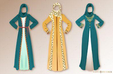 Conjunto de ilustração de vestido árabe
