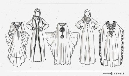 Arabic Dress Stroke Design Set