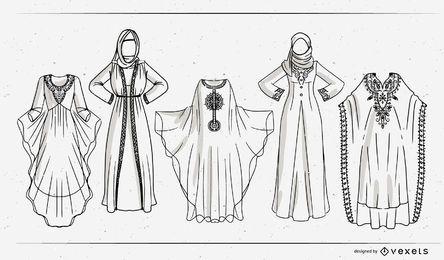 Conjunto de design de traçado de vestido árabe