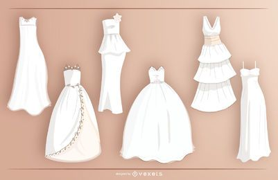 Bride dress vector set