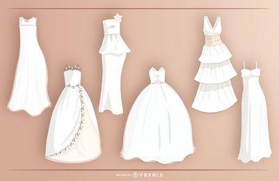 Conjunto de vetores de vestido de noiva