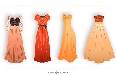 Conjunto de design de vestido longo de mulher