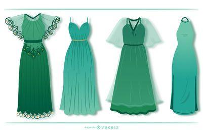 Coleção de design de vestido longo