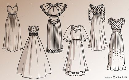 Conjunto de design de traço de vestido longo feminino