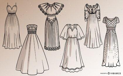 Frauen Langes Kleid Strich Design Set